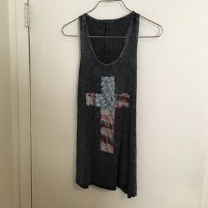 T Party Tank Rhinestones Cross Size S
